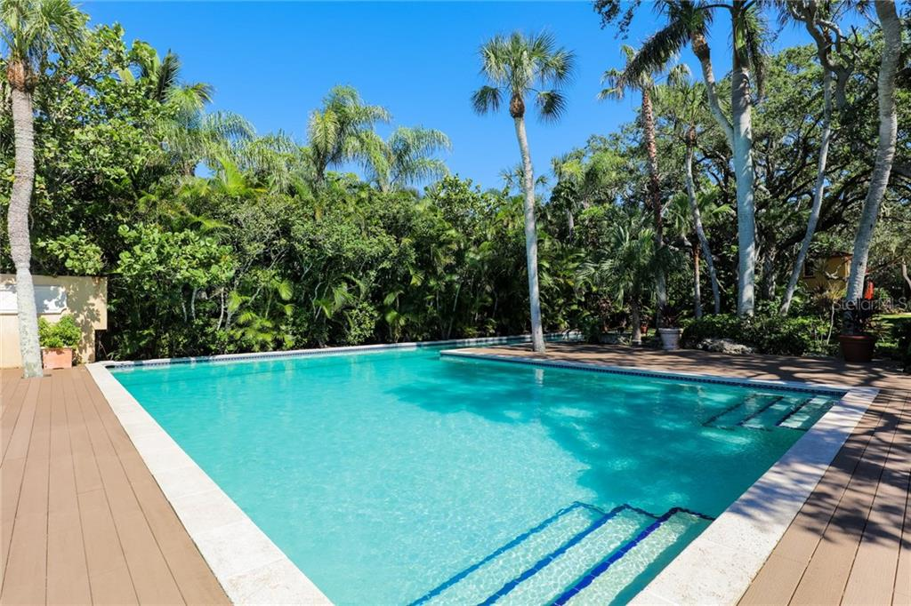 Original resort style swimming pool sitting atop of the bay front - Single Family Home for sale at 3221 Bay Shore Rd, Sarasota, FL 34234 - MLS Number is A4200323