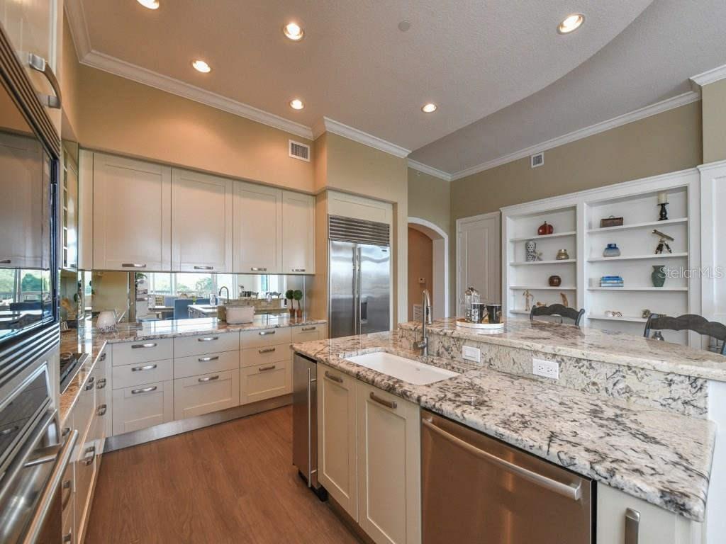 Gourmet kitchen, gas cooktop, ice maker, Lube cabinetry, granite. - Condo for sale at 888 S Orange Ave #ph-C, Sarasota, FL 34236 - MLS Number is A4209372
