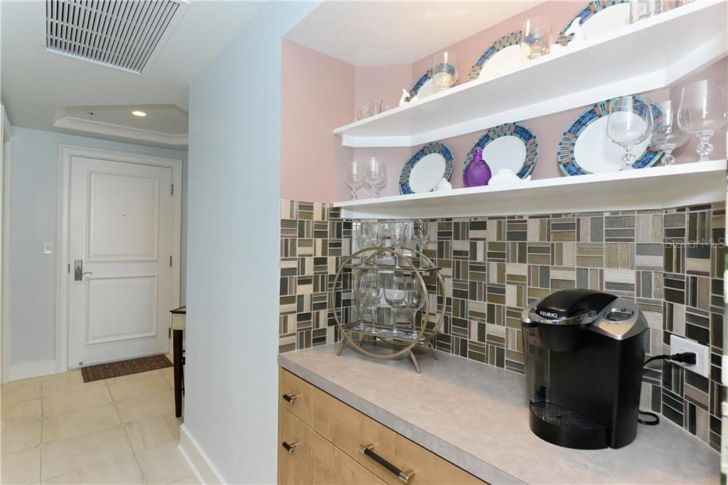 Dry Bar with Plenty of Storage. - Condo for sale at 1350 Main St #1106, Sarasota, FL 34236 - MLS Number is A4209424