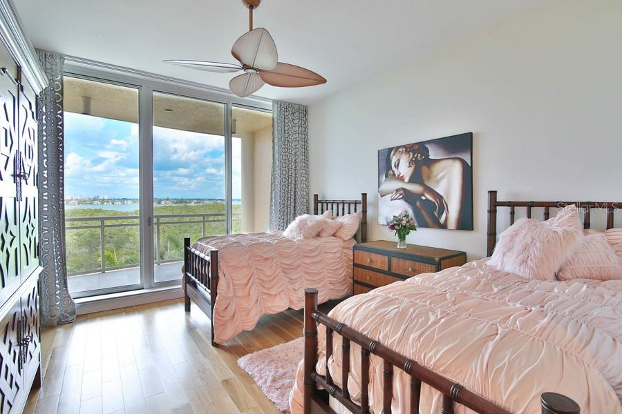 Second Bedroom with private Balcony - Condo for sale at 1300 Benjamin Franklin Dr #507, Sarasota, FL 34236 - MLS Number is A4403882