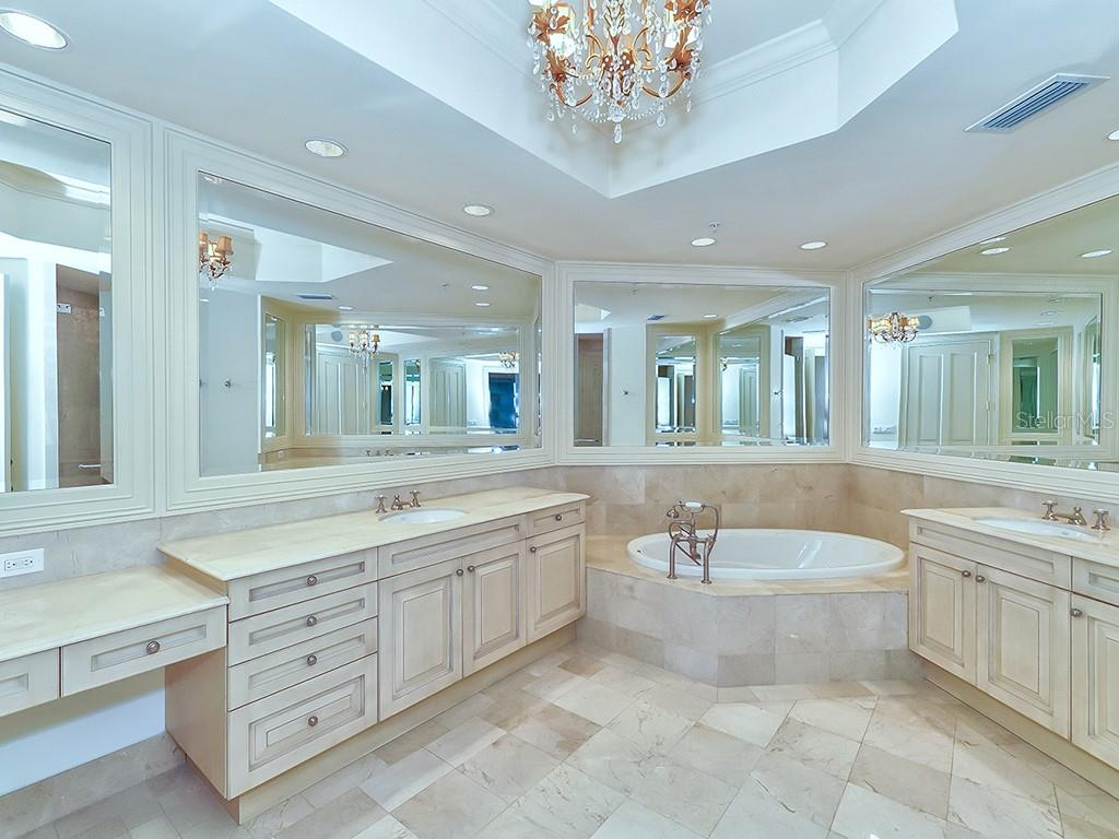 Master Bathroom - Luxurious Finishes - Condo for sale at 1300 Benjamin Franklin Dr #1008, Sarasota, FL 34236 - MLS Number is A4405360