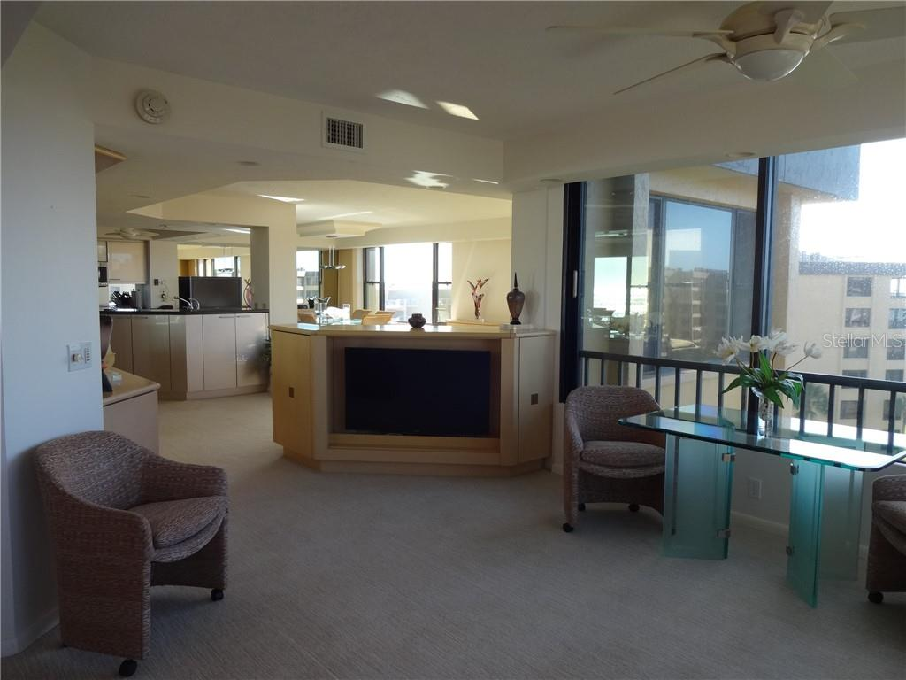 View into unit from Master Suite sitting area - Condo for sale at 5780 Midnight Pass Rd #701b, Sarasota, FL 34242 - MLS Number is A4422545
