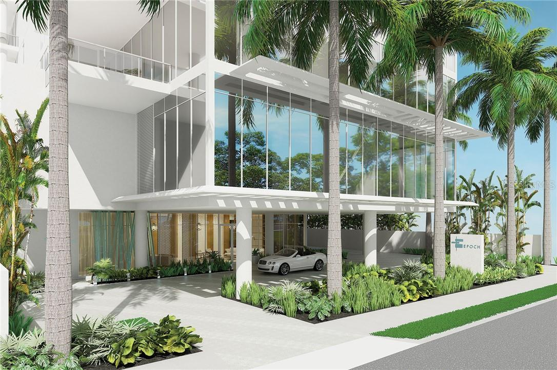 Arrive in style at EPOCH's Porte Cochere, framed with lush native landscaping and flowing water feature; convenient guest parking with easy address to the lobby. - Condo for sale at 605 S Gulfstream Ave #15, Sarasota, FL 34236 - MLS Number is A4453705