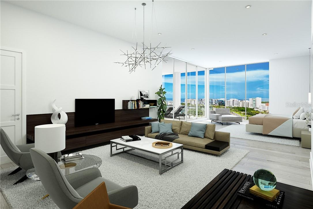 The private Owners' Suite features a spacious lounge, perfect for relaxation and retreat - and bayfront views beyond compare. - Condo for sale at 605 S Gulfstream Ave #Ph18, Sarasota, FL 34236 - MLS Number is A4458982