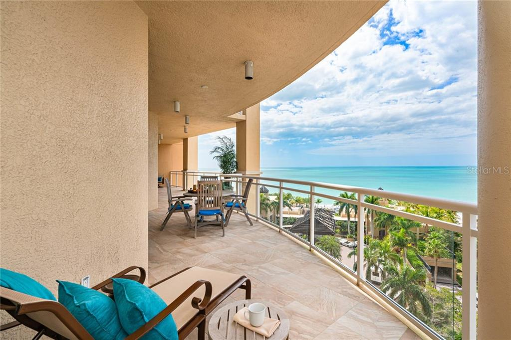 Master step out  wrap around terrace full  West/ Southwest views of Gulf of Mexico - Condo for sale at 1300 Benjamin Franklin Dr #805, Sarasota, FL 34236 - MLS Number is A4462621