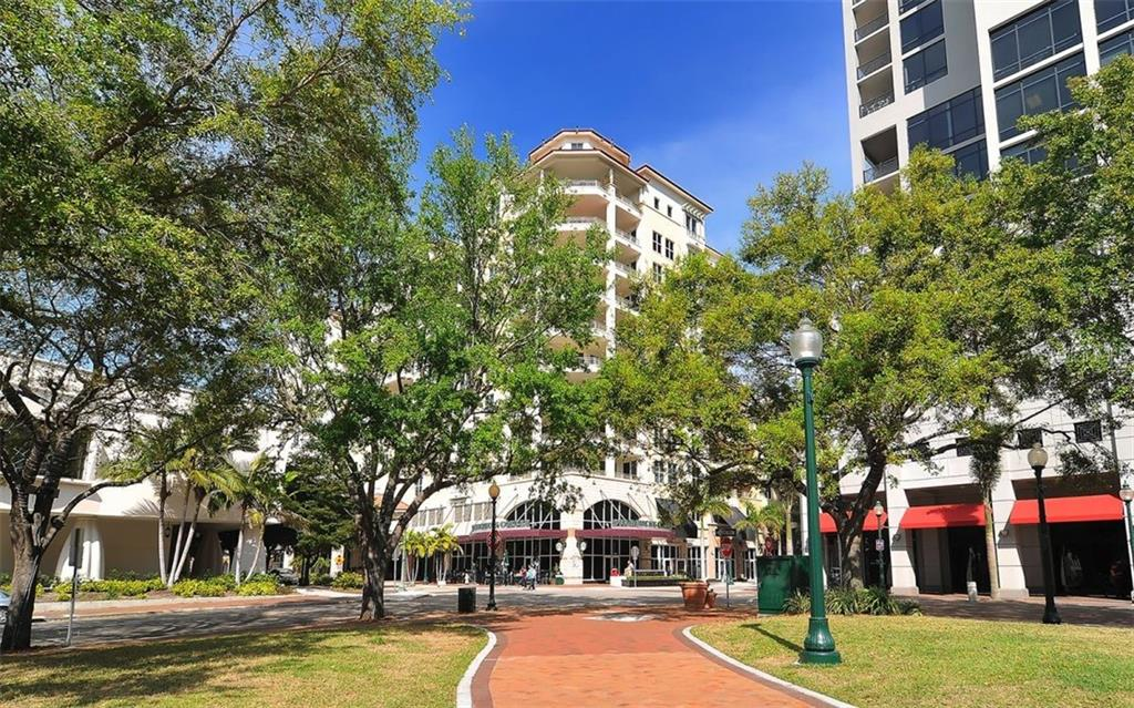 Looking at One Hundred Central from the park across the street - Condo for sale at 100 Central Ave #A401, Sarasota, FL 34236 - MLS Number is A4463296