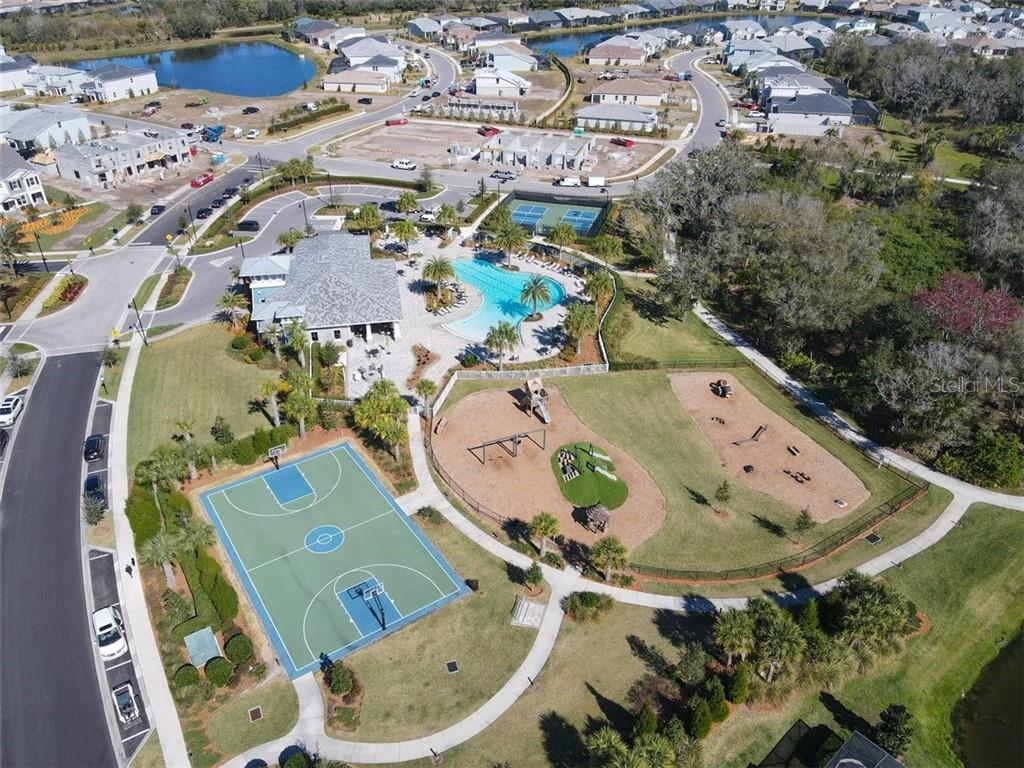 Aerial o the amenity center. - Single Family Home for sale at 11713 Blue Hill Trl, Bradenton, FL 34211 - MLS Number is A4490622