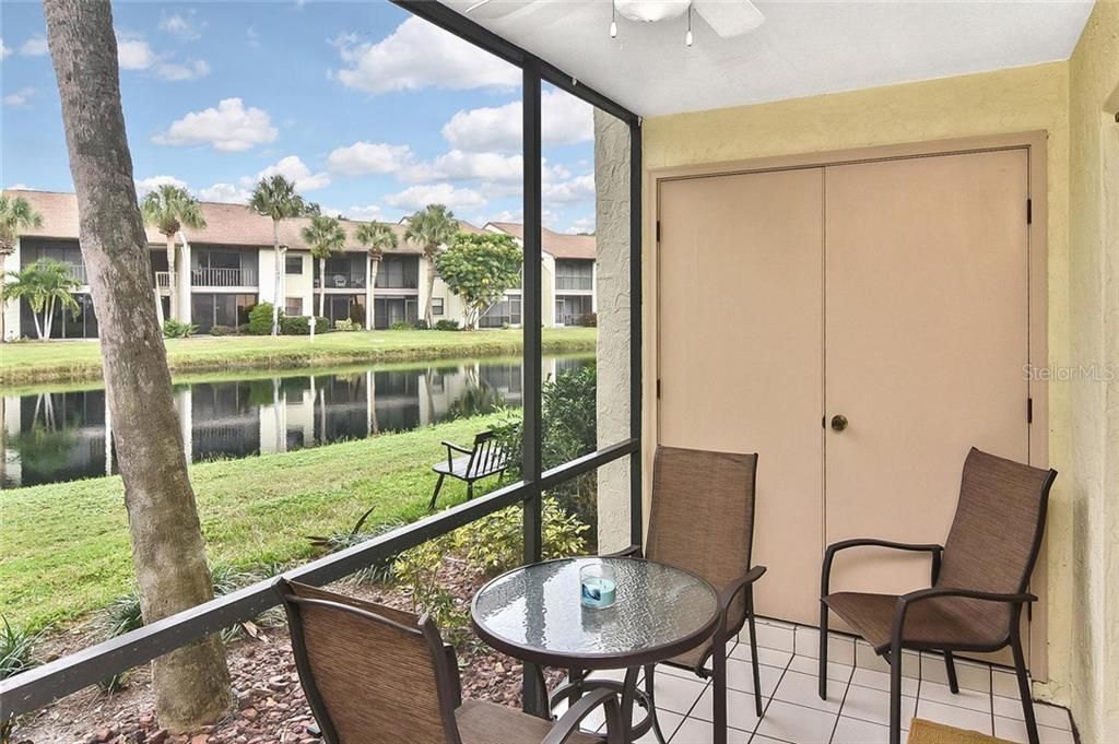 Lanai with water view - Condo for sale at 626 Bird Bay Dr S #104, Venice, FL 34285 - MLS Number is N6107935