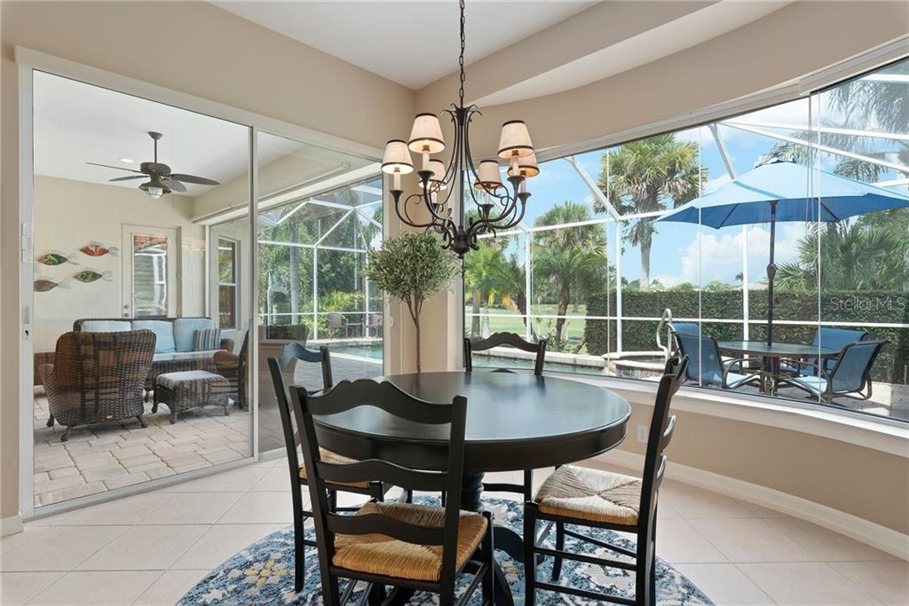 Breakfast room/dinette with aquarium tinted window - Single Family Home for sale at 953 Chickadee Dr, Venice, FL 34285 - MLS Number is N6111180