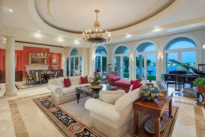 Living Room looking towards Dining Room, Pool & Blackburn Bay - Single Family Home for sale at 1492 Casey Key Rd, Nokomis, FL 34275 - MLS Number is A4189751